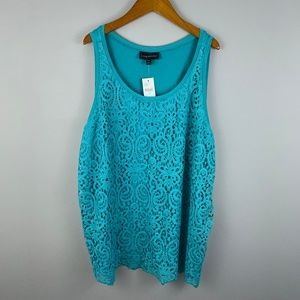 Lane Bryant NWT Tank Top Teal Crocheted 22/24